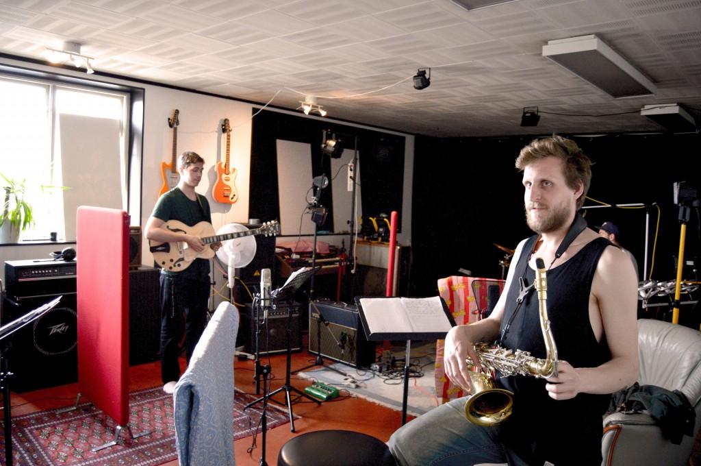 Hugo Ulfsson kvartett spelar in i studion